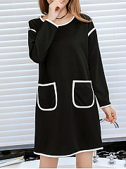 Round Neck  Contrast Trim Patchwork  Color Block Shift Dress
