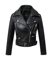 Biker-Modern-Lapel-Zips-Plain-Jacket