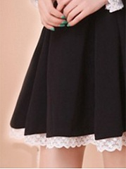 Crew Neck  Decorative Lace Lace-Up Ruffled Hem  Plain Skater Dress