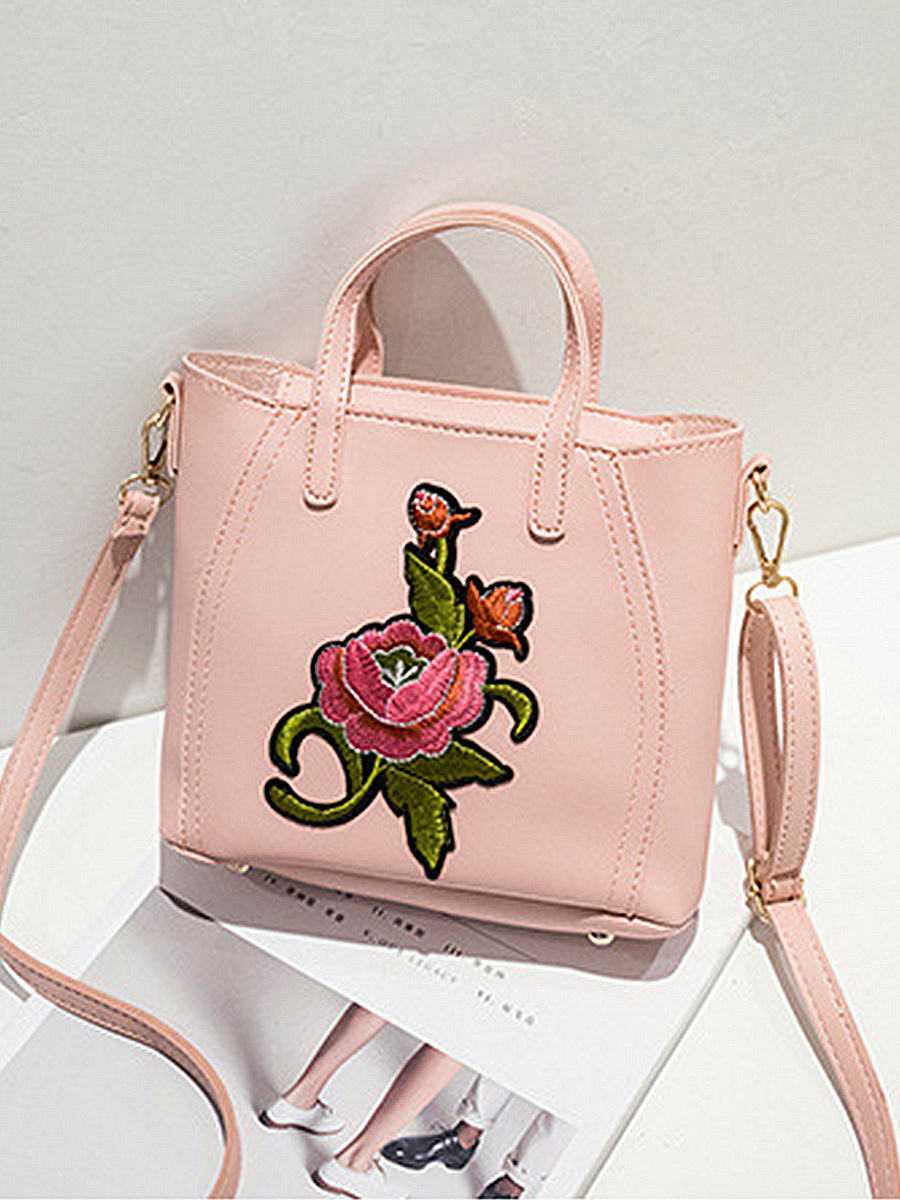 PU Floral Embroidery Shoulder Bags