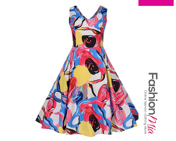 Color Block Abstract Print Round Neck Skater Dress FB54DC7A0C9A