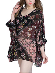 Floral-Printed-Hollow-Out-Round-Neck-Batwing-Sleeve-Tunic