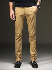 Plaid-Pocket-Slim-Leg-Mens-Casual-Pants