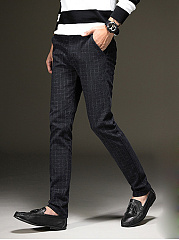 Plaid Pocket Slim-Leg Men's Casual Pants
