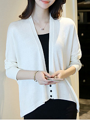 Plain  Batwing Sleeve Knit Cardigans