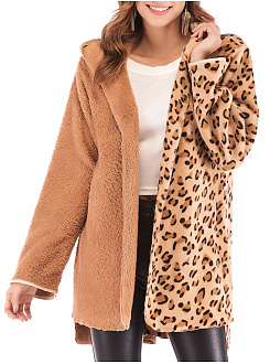 Hooded  Patchwork  Leopard Plain  Long Sleeve Coats