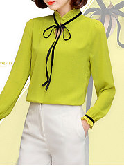 Autumn Spring  Chiffon  Women  Tie Collar  Contrast Piping  Plain  Long Sleeve Blouses