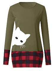 Round Neck  Patchwork  Animal Prints Checkered Long Sleeve T-Shirts