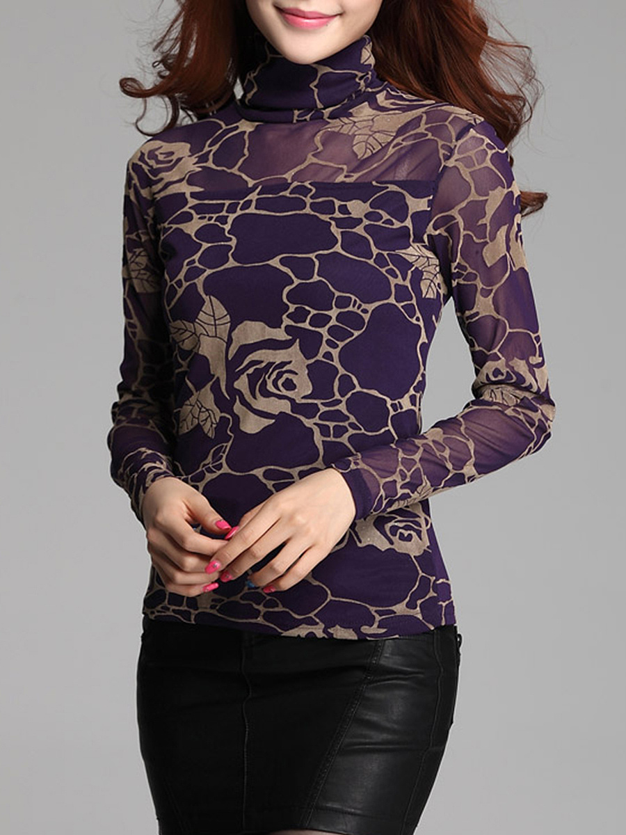 Turtleneck  See-Through  Printed Long Sleeve T-Shirt