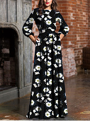 Word Collar  Belt  Printed Maxi Dress
