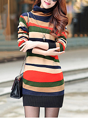 Round Neck  Colouring Casual Shift Dress