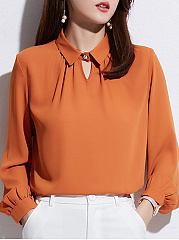 Autumn Spring  Women  Turn Down Collar  Plain  Long Sleeve Blouses