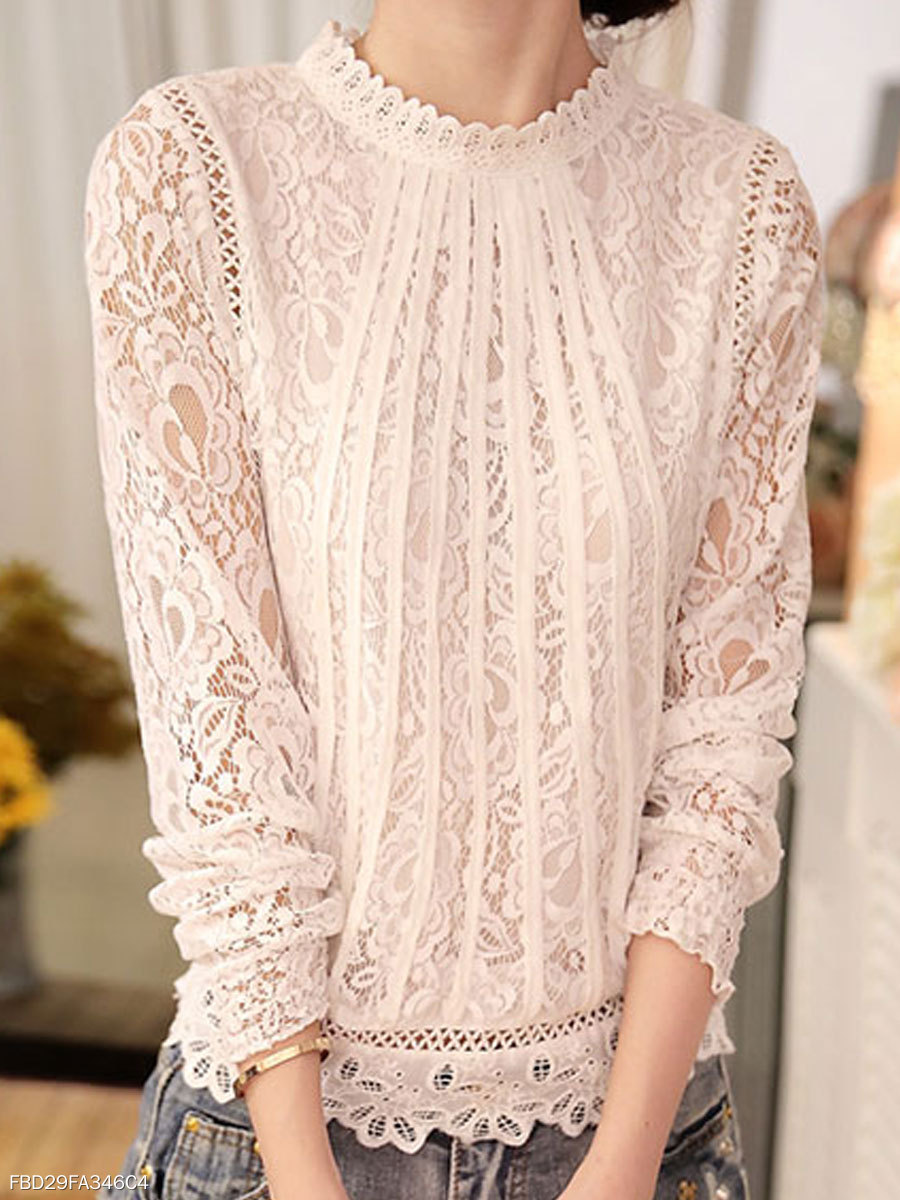High Neck  See-Through  Floral Blouses