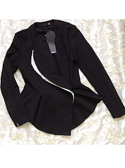 Band Collar  Flounce Zips  Plain  Long Sleeve Blazers