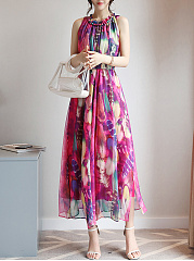 Round Neck  Elastic Waist  Feather Printed  Chiffon Maxi Dress