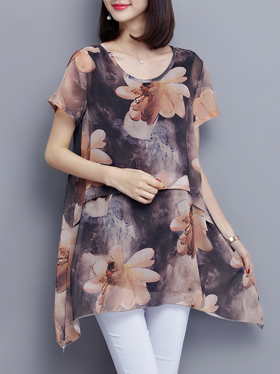 Round Neck Asymmetric Hem Blouse In Floral Printed