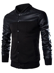 Men Band Collar Patchwork Single Breasted Pocket Jacket