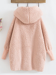 Hooded  Decorative Button Single Button  Plain  Long Sleeve Coats
