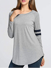 Autumn Spring  Cotton  Women  Round Neck  Asymmetric Hem Patchwork  Plain Long Sleeve T-Shirts