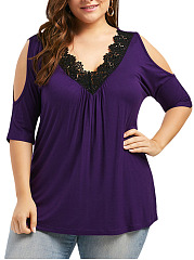 Deep V-Neck  Decorative Lace  Plain  Short Sleeve Plus Size Blouses&T-Shirt