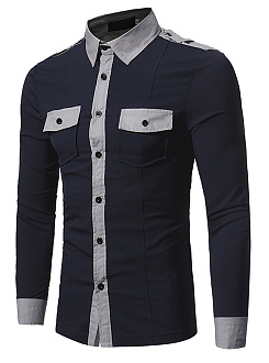 Color Block  Flap Pocket Men Shirts