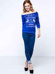 Snowflake And Elk Printed Christmas Stylish Sweatshirt