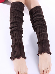 Flounce Knit Long Knit Leg Warmers
