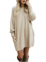 Round Neck  Plain Knit Casual Shift Dress