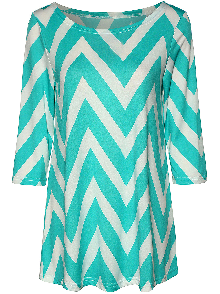 Round Neck Zigzag Striped Blouse