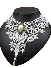 Beads Decorative Lace Hollow Out Necklace