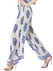 High Slit Printed Wide-Leg Casual Pants