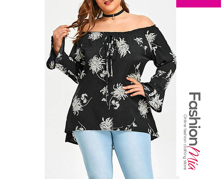 Open Shoulder  Drawstring  Printed  Bell Sleeve  Long Sleeve Plus Size BlousesT-Shirt