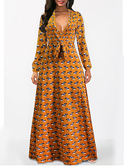 V-Neck  Belt  Printed Daily Maxi Dress