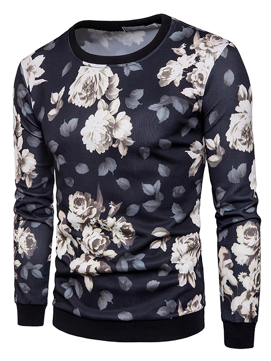 Men Floral Printed Round Neck Sweatshirt