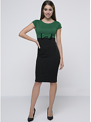 Round Neck Bowknot Graceful Color Block Bodycon Dress