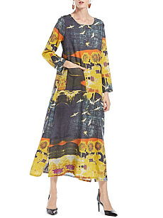 Round Neck  Patch Pocket Fashion Printed Maxi Dress