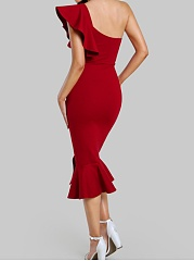 One Shoulder  Plain  Blend Bodycon Dress