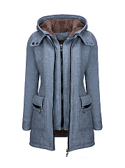 Hooded  Flap Pocket Zips Fleece Lined Coats