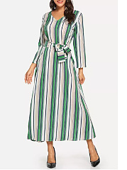 V-Neck  Belt  Printed Maxi Dress