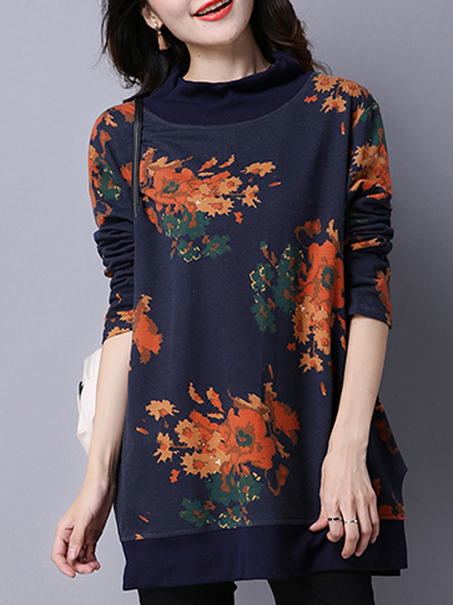 High Neck  Floral Printed Long Sleeve T-Shirt