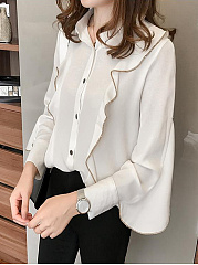 Autumn Spring  Cotton  Women  Turn Down Collar  Flounce  Contrast Stitching  Plain  Long Sleeve Blouses