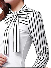 Spring  Cotton  Women  Tie Collar  Striped  Long Sleeve Blouses