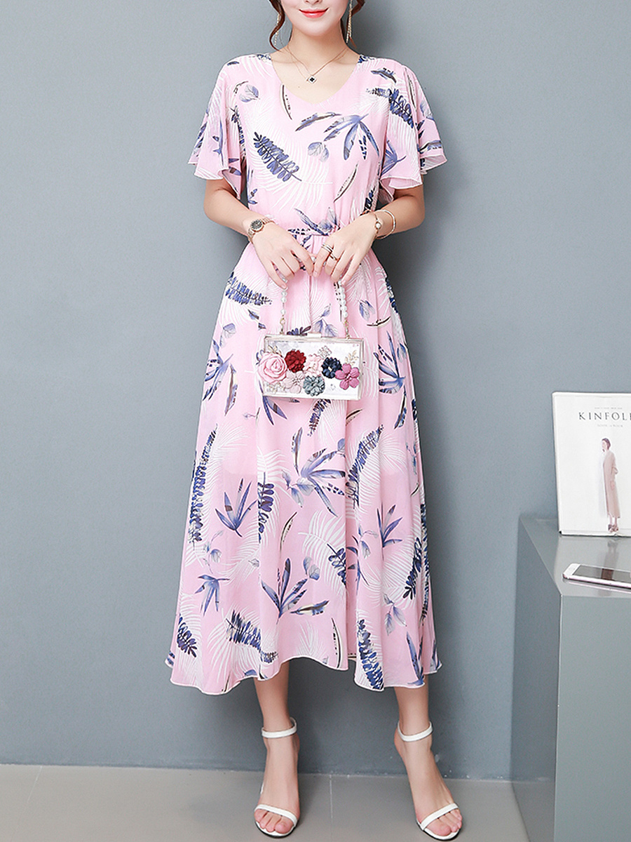 V-Neck Ruffle Sleeve Printed Chiffon Maxi Dress