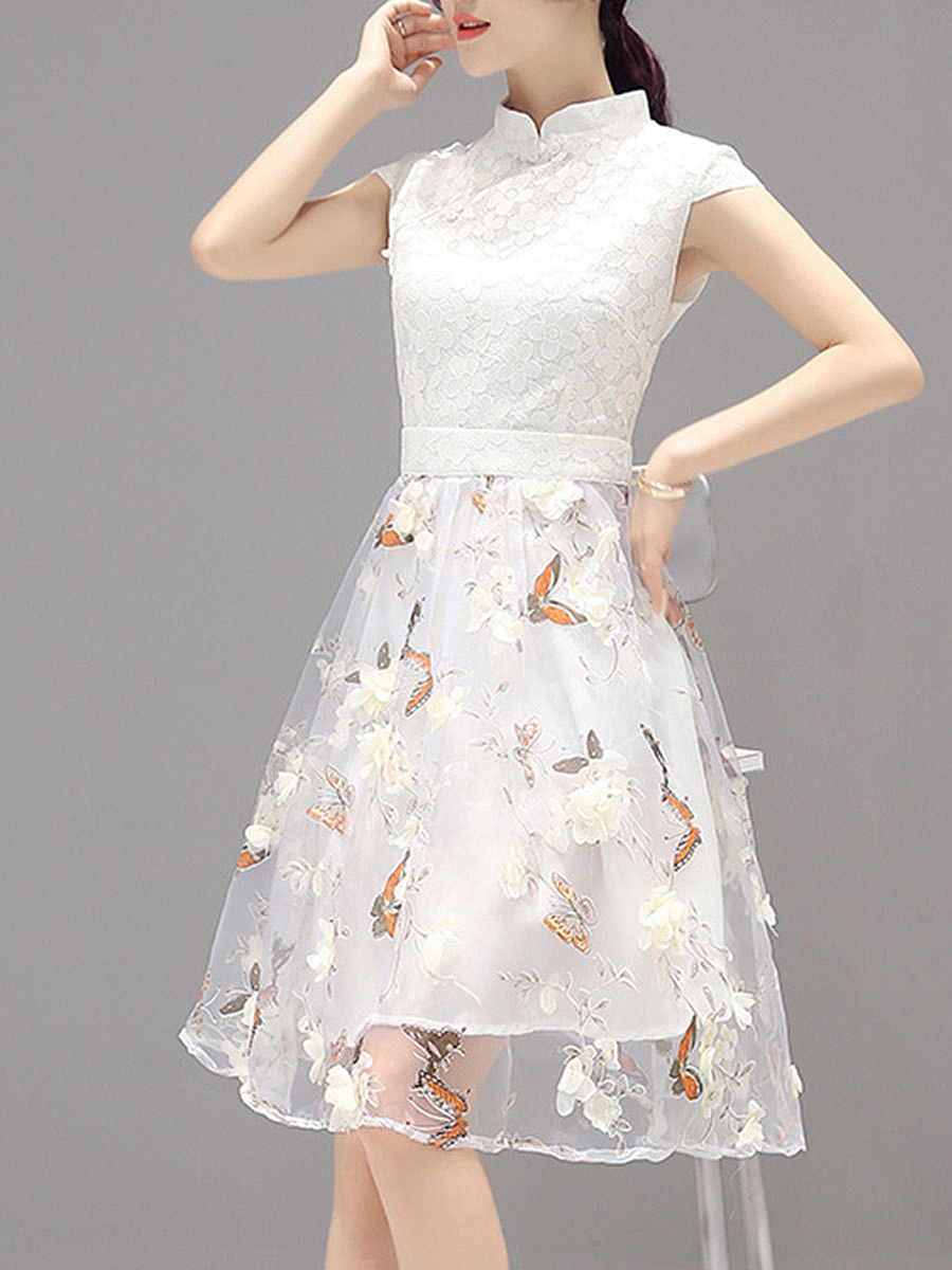 Fancy Band Collar Floral Hollow Out Skater Dress
