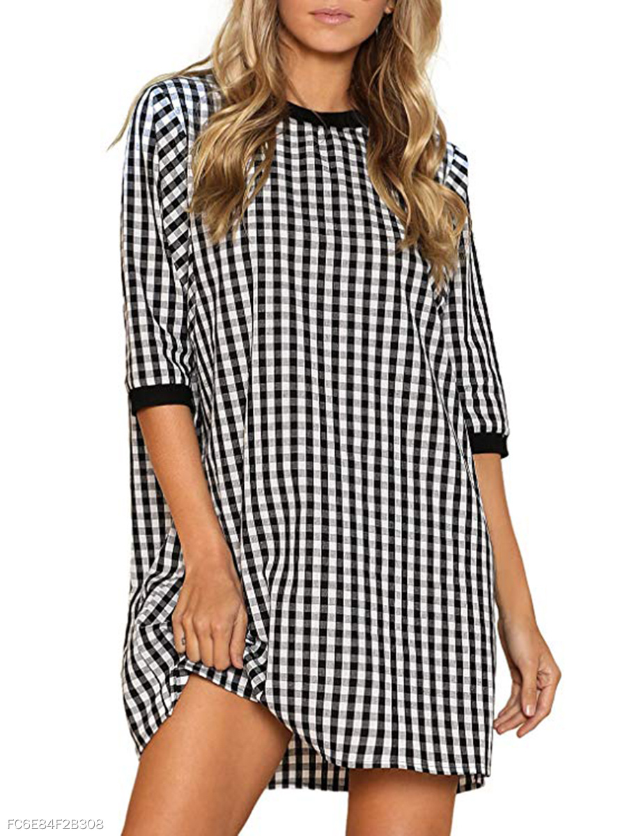 Round Neck  Color Block Plaid Shift Dress
