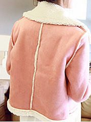 Fold-Over Collar  Decorative Button  Plain  Long Sleeve Coats