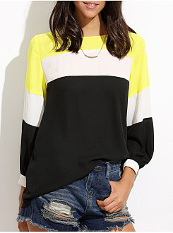 Spring Summer  Polyester  Women  Round Neck  Patchwork  Plain  Long Sleeve Blouses