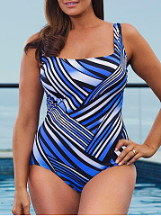 Spaghetti Strap  Backless  Gradient Plus Size One Piece