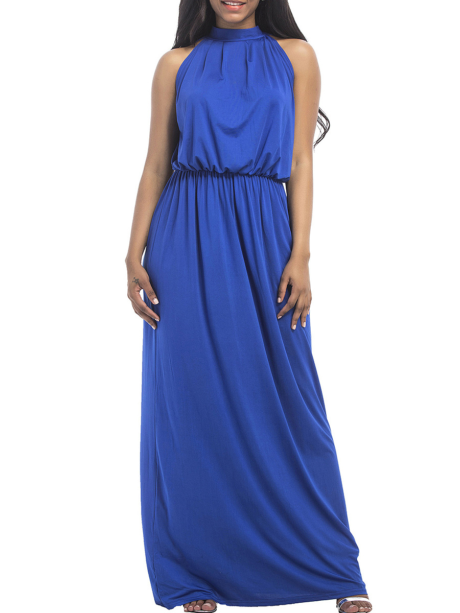 Band Collar Plain Elastic Waist Evening Dress