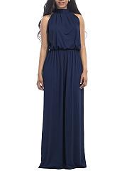 Band-Collar-Plain-Elastic-Waist-Evening-Dress